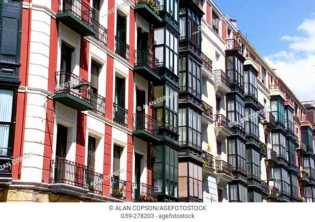 Balconies. Bilbao. Biscay. Basque Country. Spain