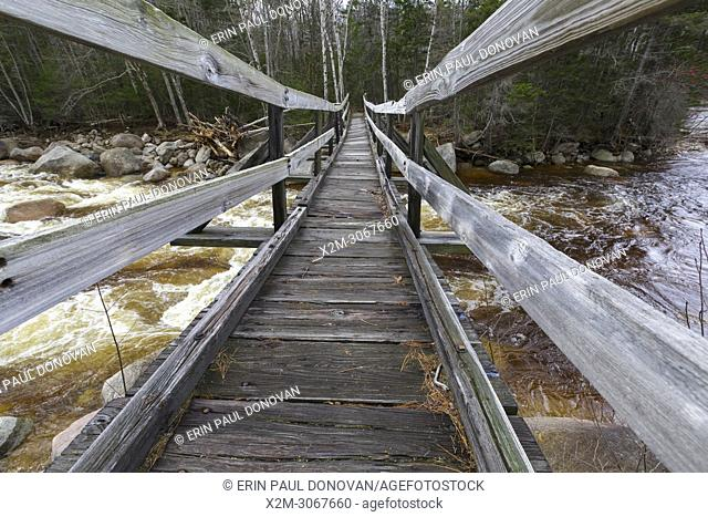 The Thoreau Falls Trail bridge, which crosses the East Branch of the Pemigewasset River, in the Pemigewasset Wilderness of New Hampshire