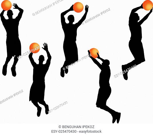 Vector Image - basketball player man silhouette isolated on white background