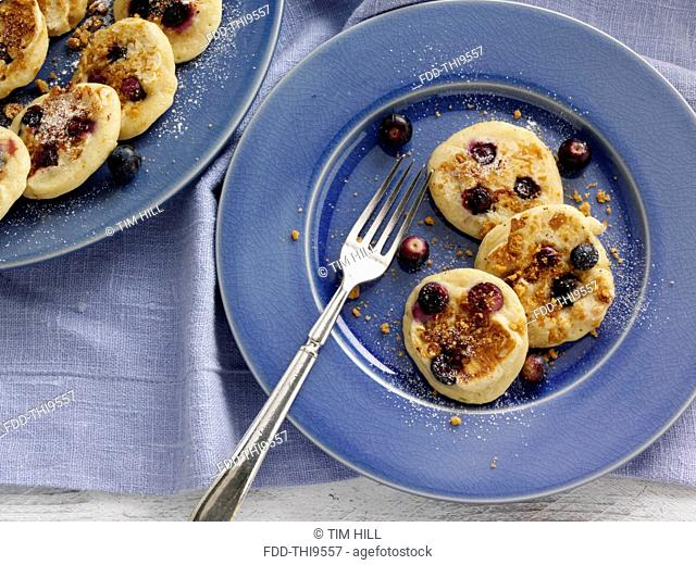 Silver dollar ginger snap Huckelberry pancakes