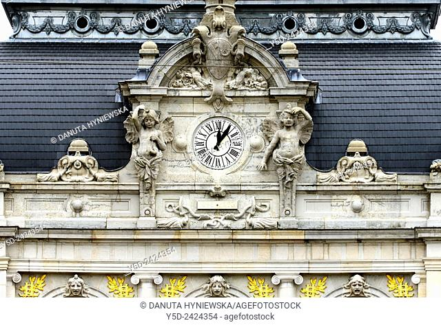 Lons-le-Saunier, detail of theater buiilding, Opera and the square de la Comédie. capital of Jura department - préfecture (39), region Franche-Comté