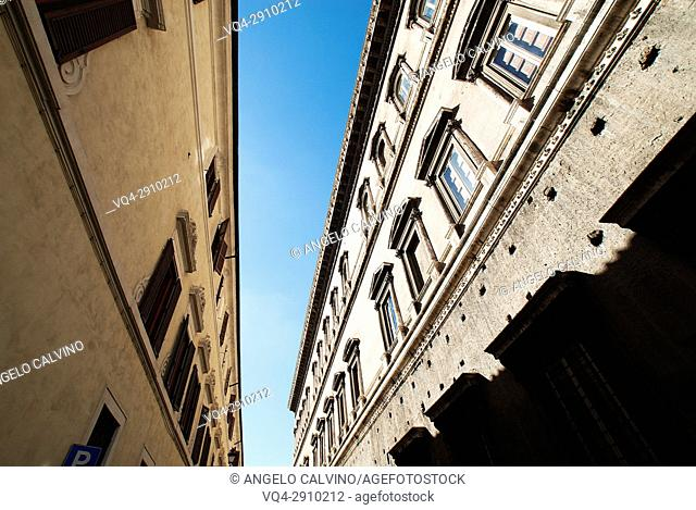 Via Giulia in Rome, Unusual Prospective from below of the ancient Buildings, Rome, Italy