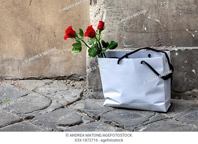 Red roses in a white bag Rome Italy