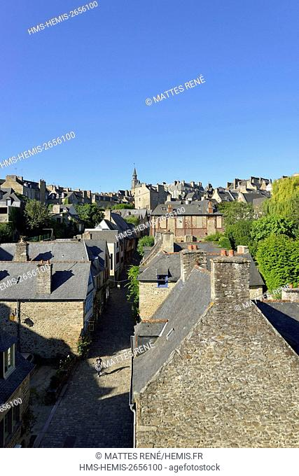 France, Cotes d'Armor, Dinan, the old town, Jerzual street and the Clock Tower, 15th century belfry, 45 meters high