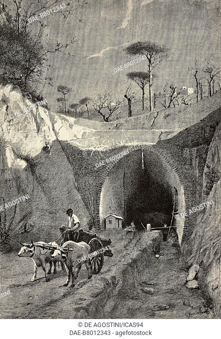 A tunnel excavation in Posillipo, Italy, engraving from a drawing by G Nacciarone, from L'Illustrazione Italiana, year 10, no 16, April 22, 1883