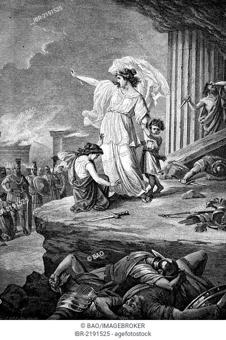 The last Carthaginian, historical engraving, about 1888
