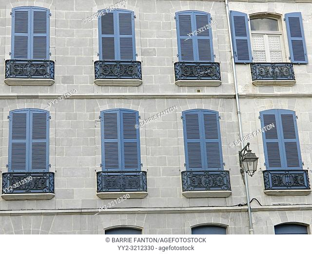 Blue Shutters on Building Facade, Bayonne, France