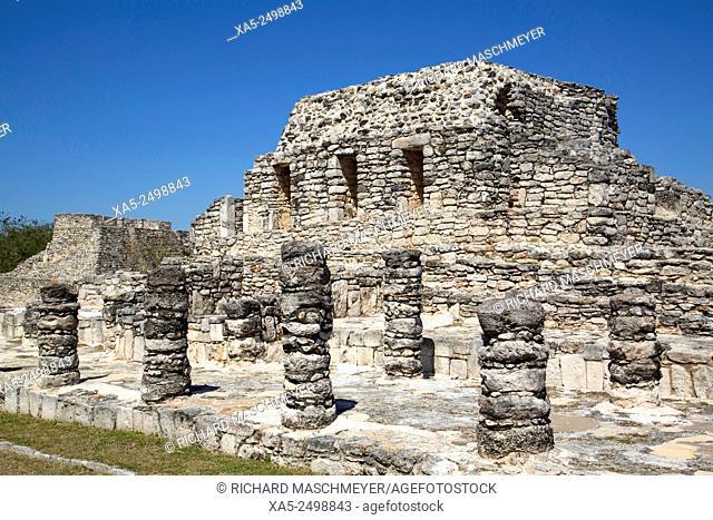 Templo de los Guerreros, Mayapan Mayan Archaeological Site, Yucatan, Mexico