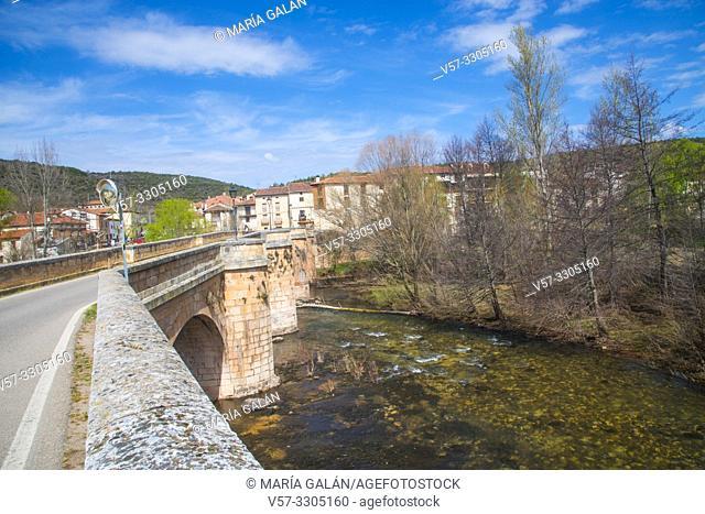 Bridge over river Arlanza. Covarrubias, Burgos province, Castilla Leon, Spain