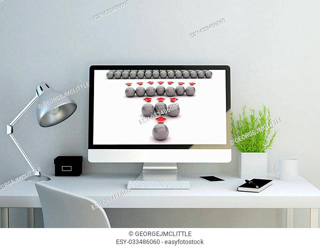 modern clean workspace mockup with viral marketing concept on screen. 3D illustration. all screen graphics are made up