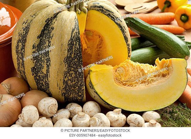 Tonda Padana pumpkin with ingredients for pumpkin soup