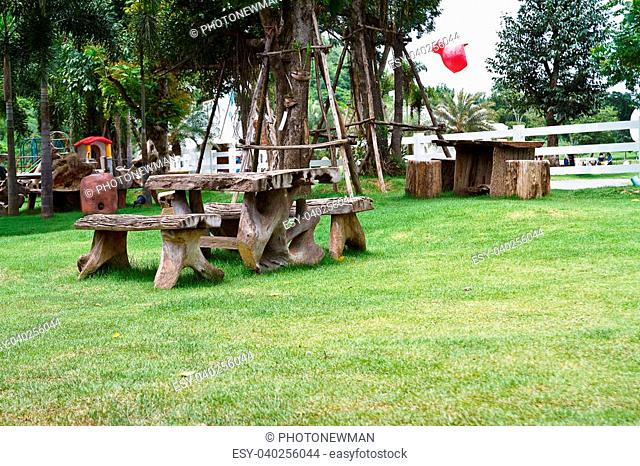 Benches in the lawn