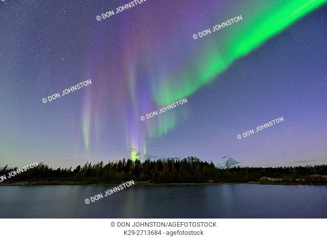 Aurora borealis over a small boreal pond, near Enterprise, Northwest Territories, Canada