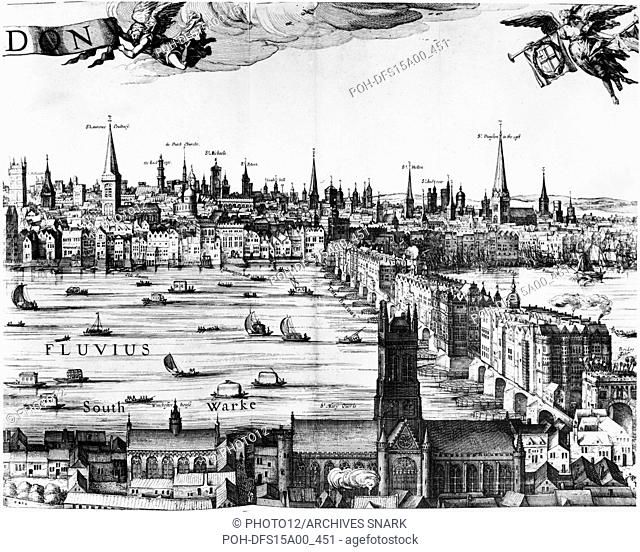 Claes Jansz Visscher Dutch school View of the Thames, the Tower of London and the opposite riverbank. Detail from Londinum Florentiss[i]ma Britanniae Urbs, 1616