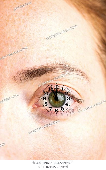 Composite close-up of female eye with clock