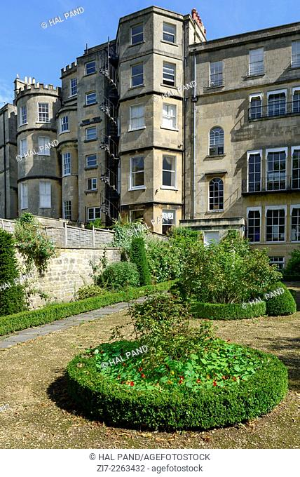 rear Georgian facade and small garden, Bath view of the courtyard side of Georgian classic residential buildings of crescent in city center