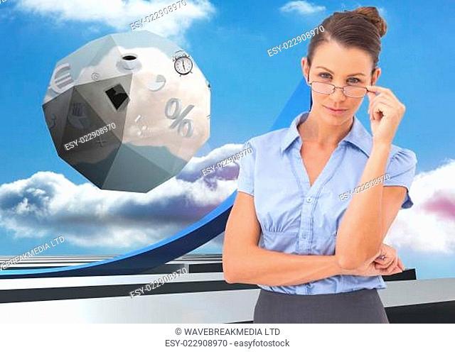 Composite image of businesswoman adjusting her glasses