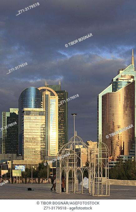 Kazakhstan; Astana, skyline, skyscrapers, modern architecture,