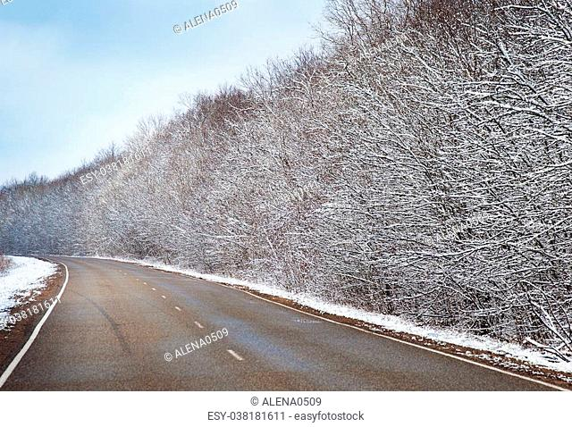 Snowy winter road and blue sky, Winter