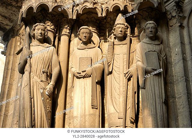 Gothic statues from the Cathedral of Chartres, France. . A UNESCO World Heritage Site