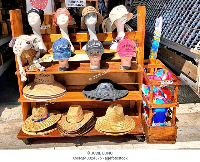 Venice Beach, Santa Monica, CA, USA. Looking at a Retail Shop Display of Hats. EDITORIAL USE ONLY