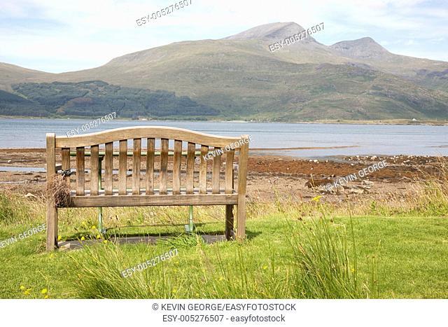 Bench on Landscape, Isle of Mull, Scotland, UK