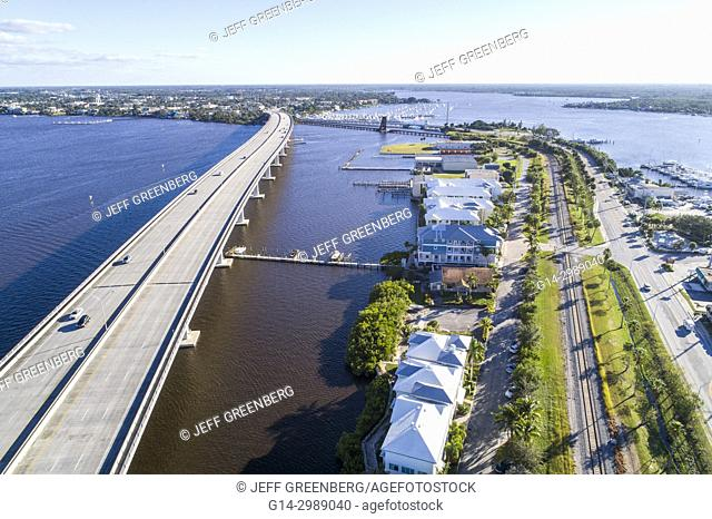 Florida, Stuart, St. Saint Lucie River, Route 1 One Federal Highway Bridge Dixie Highway Route A1A, aerial overhead view above bird's eye