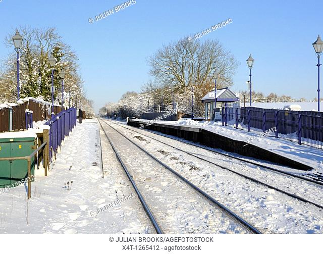 Tackley railway station, Oxfordshire, in the snow  Blue sky and sunshine