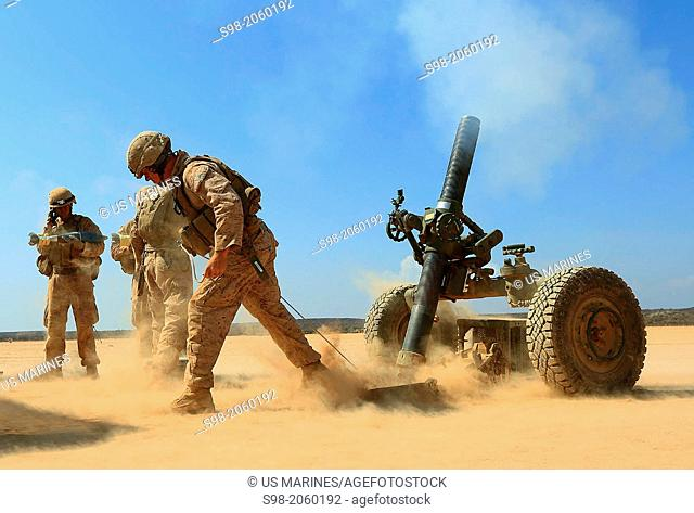 DJIBOUTI, AFRICA (Oct.30, 2013) - A Marine with Alpha Battery, 1st Battalion 4th Marines, 13th Marine Expeditionary Unit fires a 120MM Rifled Tower Mortar...