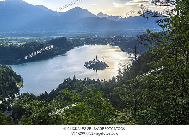 Slovenia, Bled, Bled island and Church of the Assumption of Maria at sunrise