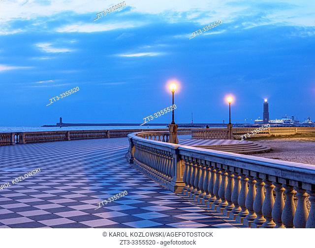 Terrazza Mascagni at dusk, Livorno, Tuscany, Italy