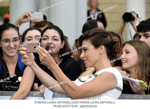 Jasmine Trinca with fans during the photocall at 48th Giffoni Film Festival, Giffoni-ITALY-23-07-2018