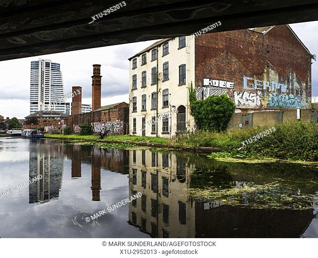Modern Bridgwater Tower and Old Tower Works Campaniles by the Leeds and Liverpool Canal Leeds West Yorkshire England