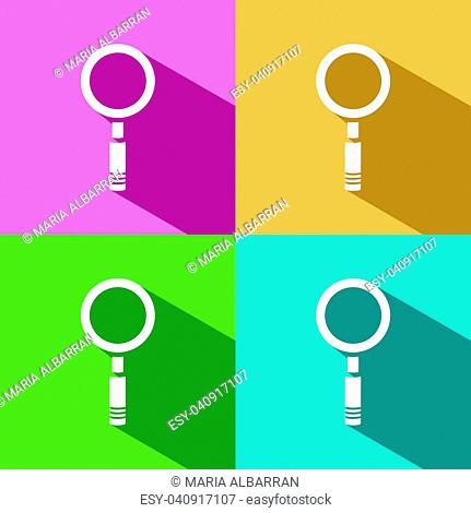 Magnifying glass icon with shade on colored background. Vector illustration