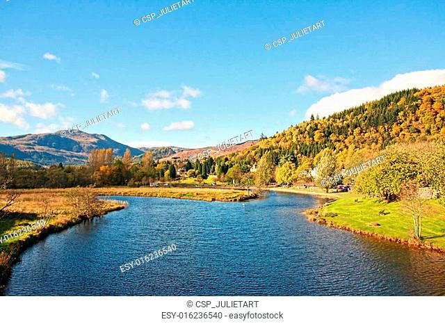 River Teith with a view on Ben Ledi, Callander, Scotland, Uk