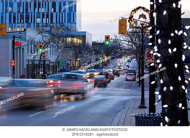 Looking down a decorated Queen Street in downtown Brampton, Ontario, Canada