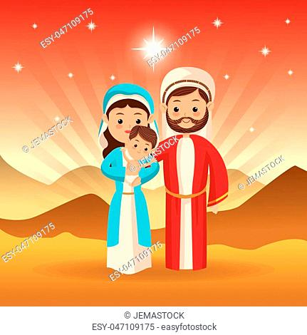 Merry Christmas and holy family concept represented by joseph maria and jesus icon over desert landscape. Colorfull illustration