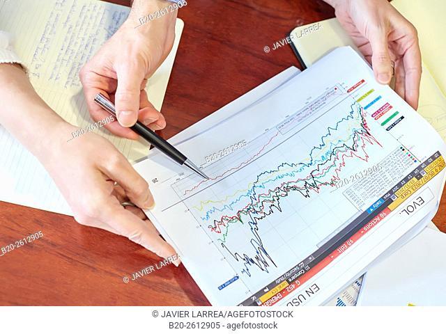 Stockbroker. Stock market. Charts
