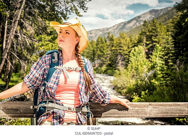 Young female hiker looking out from river footbridge, Red Lodge, Montana, USA