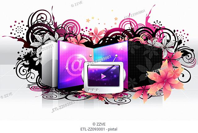 Television and email sign with flora design
