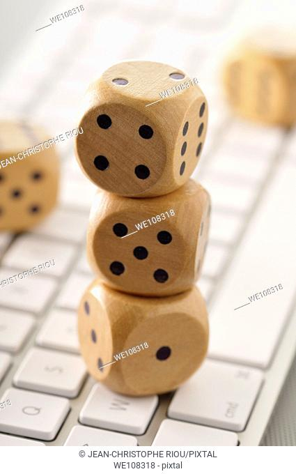 Dices on a keyboard
