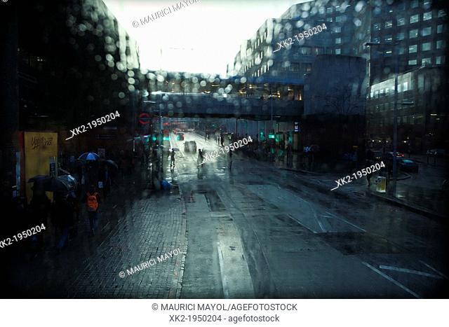View from a bus window near London Bridge tube station, London, UK