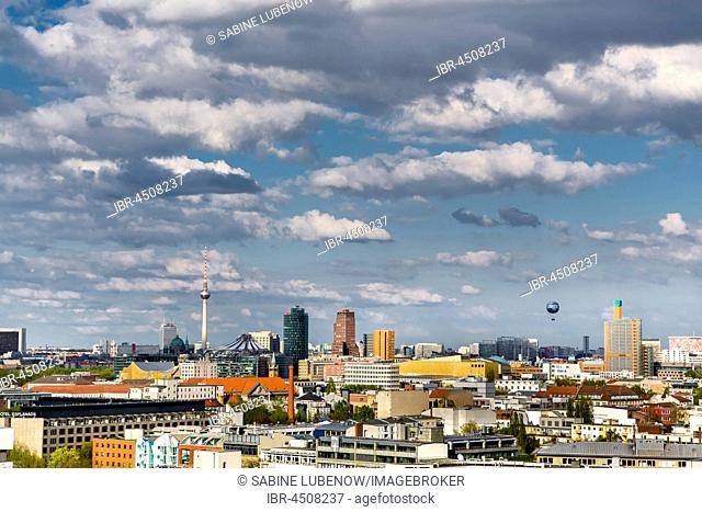 View from the City West eastbound to Potsdamer Platz, Dom and Alexanderplatz television tower, Berlin, Germany