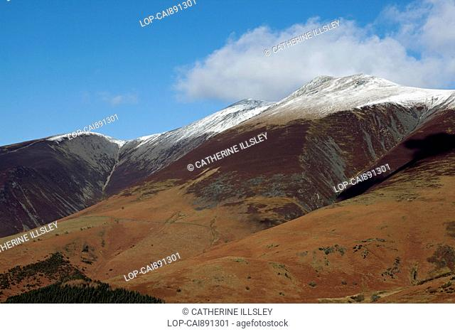 England, Cumbria, Keswick. Looking up to the summit of Skiddaw