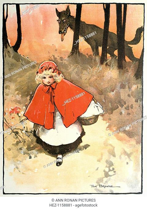 Scene from Little Red Riding Hood, 1900. This fairy tale, common to Germany, Sweden and France appears in Histoires ou Contes du temps passe (Tales of Times...