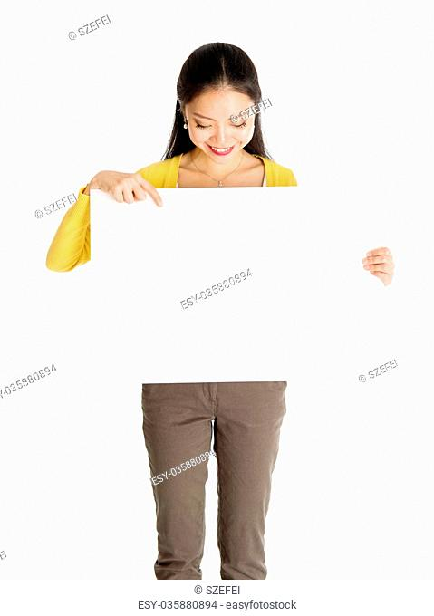 Asian woman holding white blank paper card