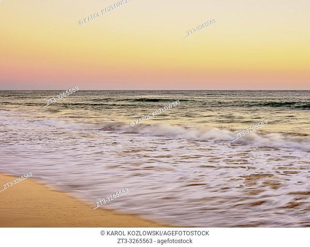 Faro Beach at sunset, Ilha de Faro, Ria Formosa Natural Park, Faro, Algarve, Portugal