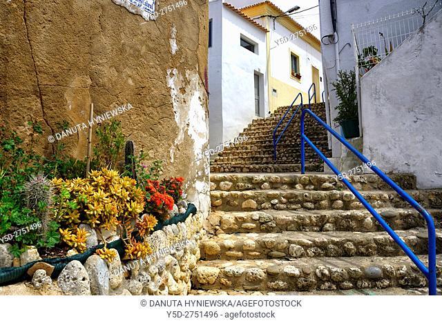 Characteristic Algarvian architecture, Old Town of Ferragudo, Lagoa, Algarve, Portugal, Europe