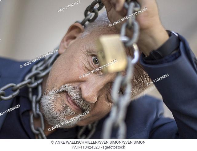 Jussi ADLER-OLSEN, den, writer, crime writer, feature wrapped in chains, on 12.10.2018 Frankfurt Book Fair 2018 from 10.10 - 14.10