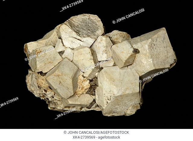 Feldspar crystals, Orthoclase, or orthoclase feldspar (endmember formula KAlSi3O8), is an important tectosilicate mineral which forms igneous rock, Montana, USA